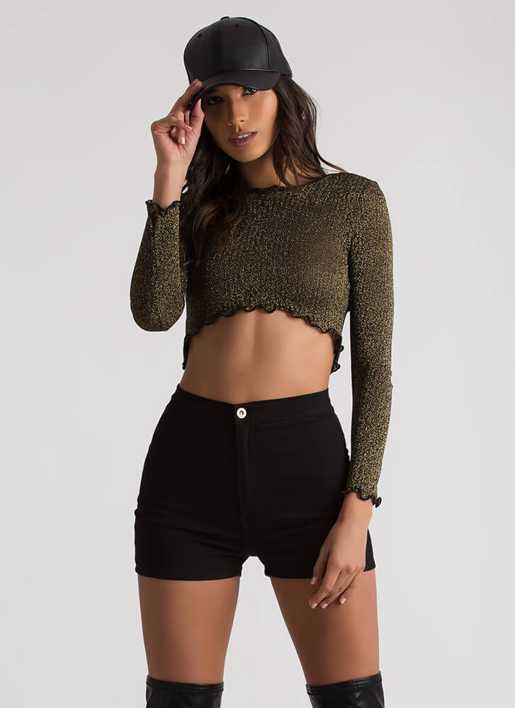 What A Frill It Is Glittery Crop Top GOLD