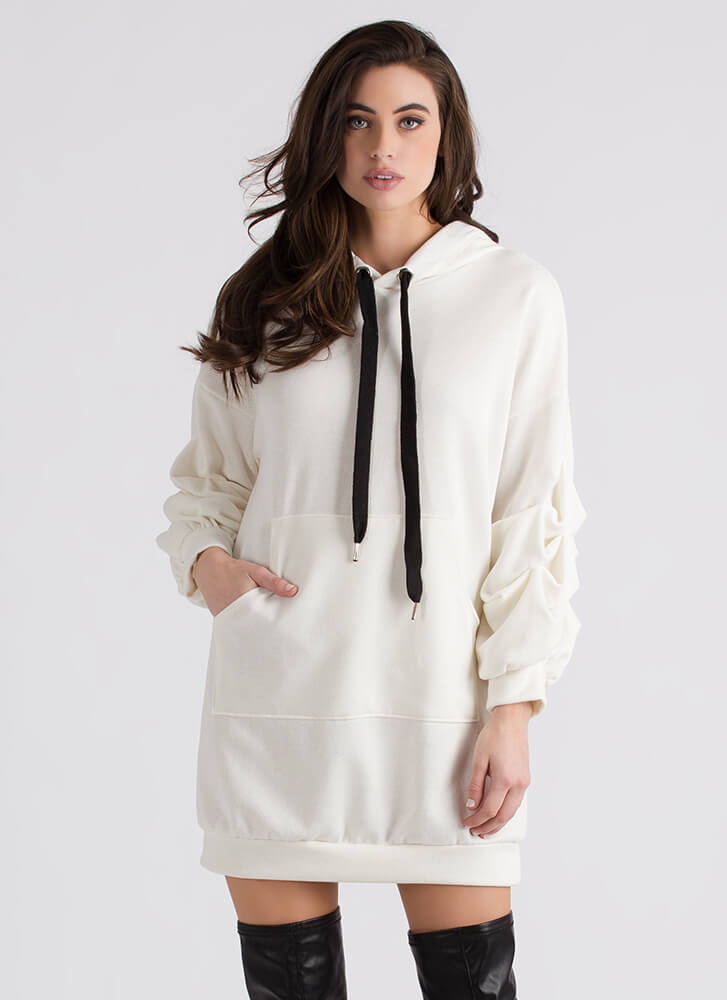 Pick-Me-Up Puffy Sleeve Hoodie Dress OFFWHITE