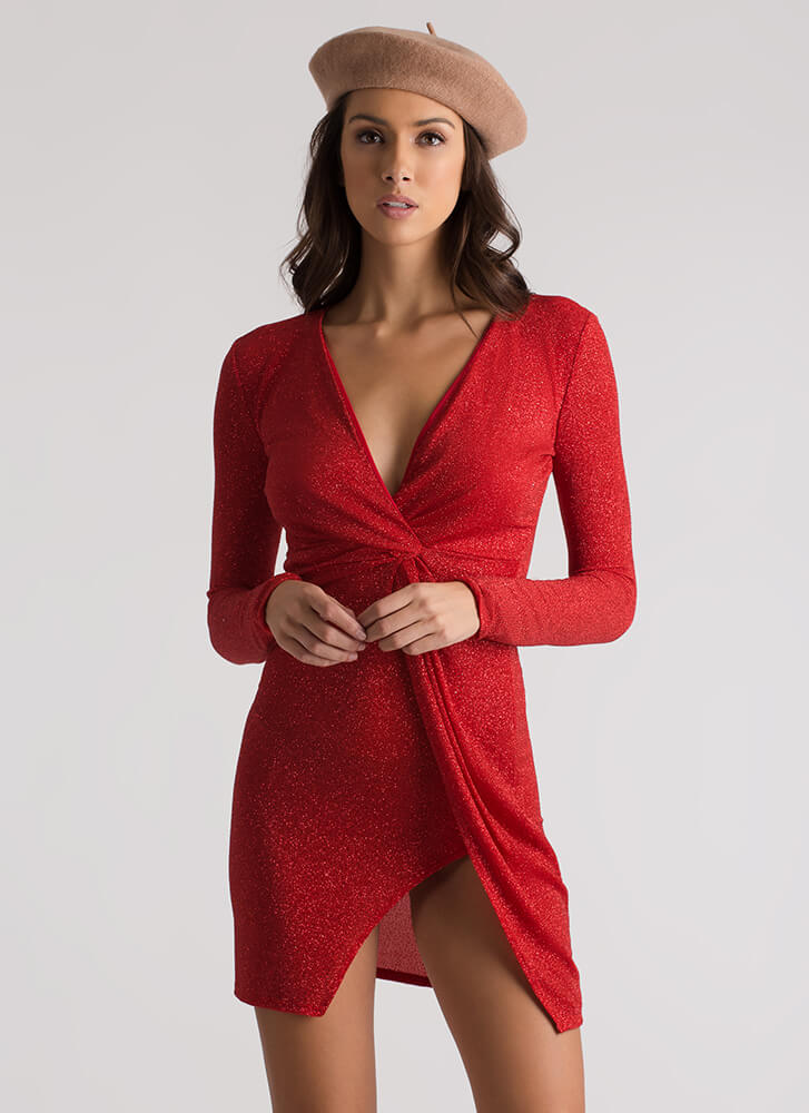 Specks Appeal Glittery Knotted Dress RED