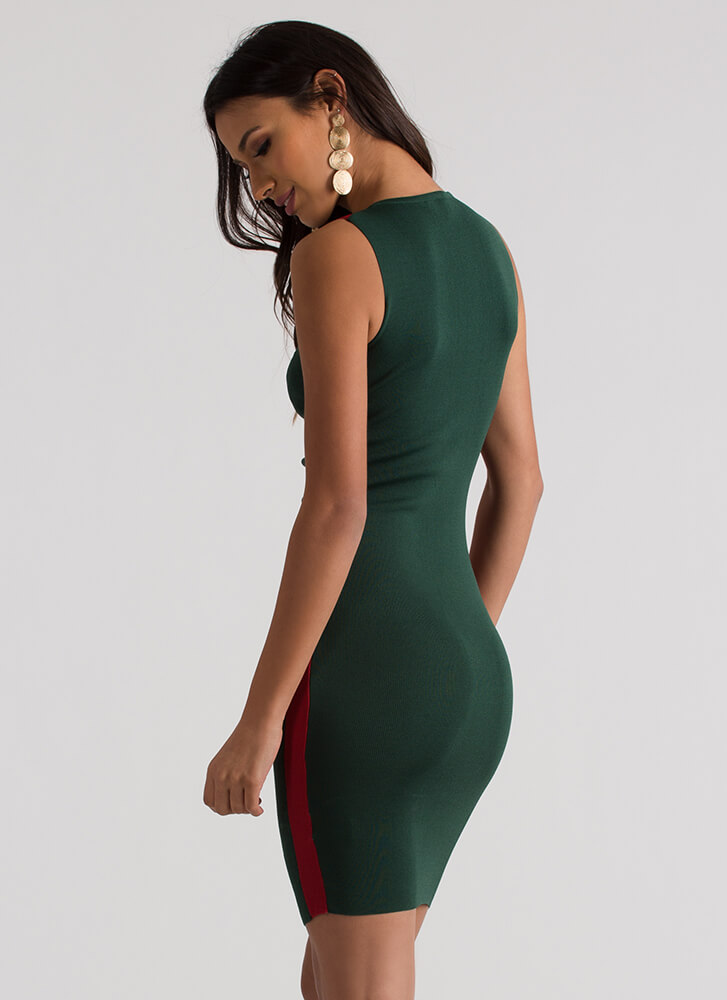 Side Lines Two-Toned Midi Dress GREEN