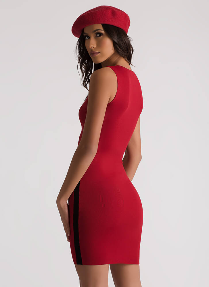 Side Lines Two-Toned Midi Dress RED