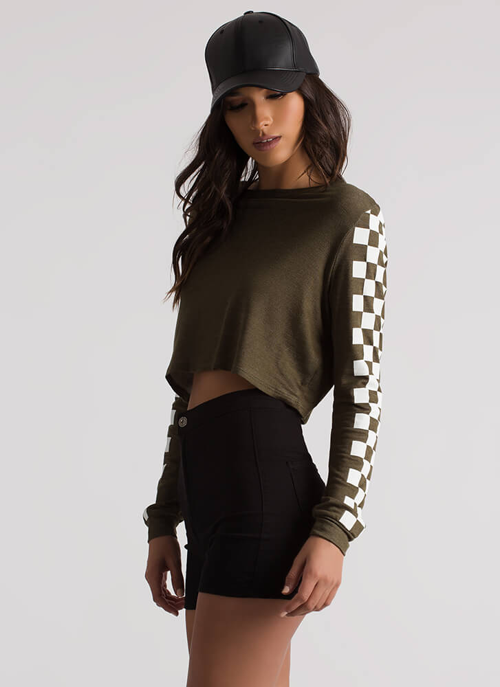 Checked Out Racer Graphic Crop Top OLIVE