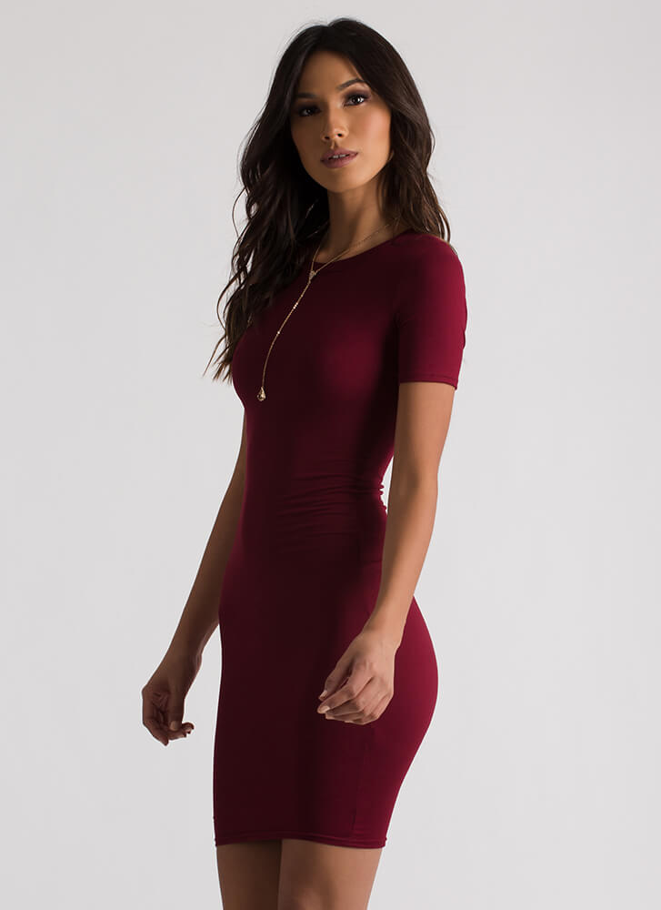 This Is Essential Short-Sleeved Dress BURGUNDY
