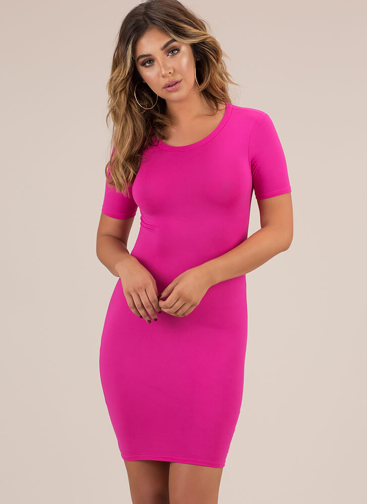 This Is Essential Short-Sleeved Dress FUCHSIA