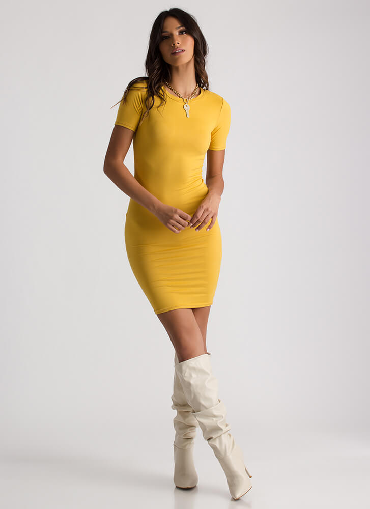 This Is Essential Short-Sleeved Dress MUSTARD