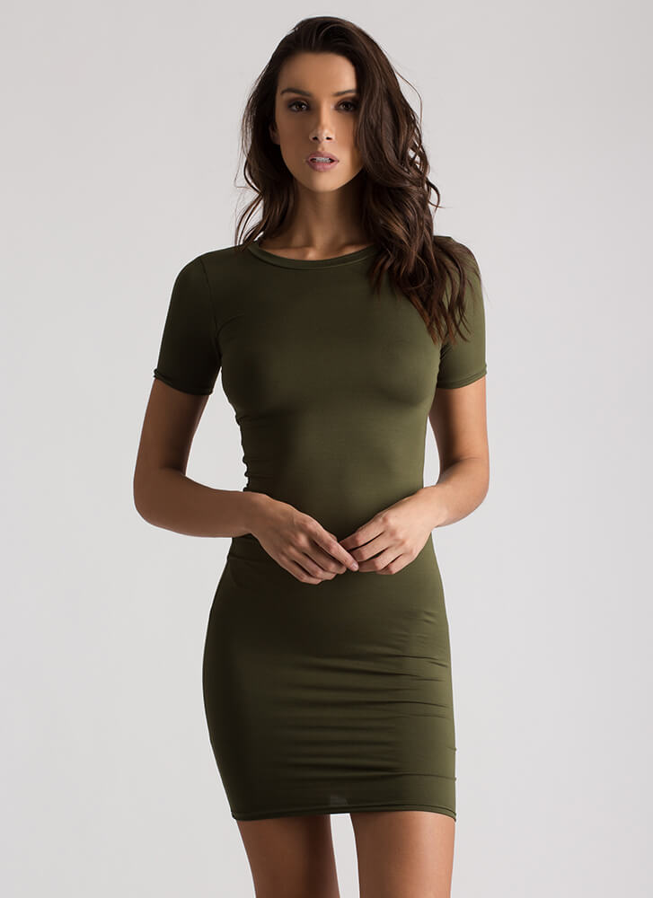 This Is Essential Short-Sleeved Dress OLIVE