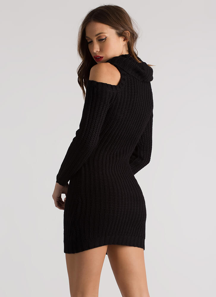 In From The Cold Shoulder Sweater Dress BLACK