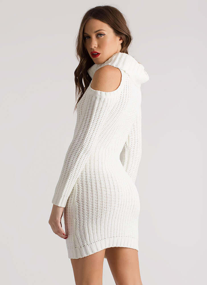 In From The Cold Shoulder Sweater Dress IVORY