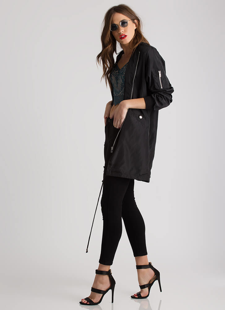 Cool And Casual Longline Bomber Jacket BLACK