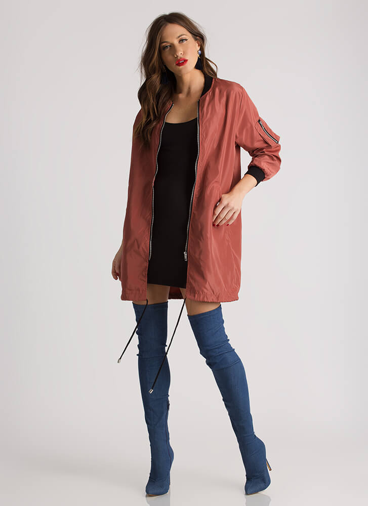 Cool And Casual Longline Bomber Jacket ROSE