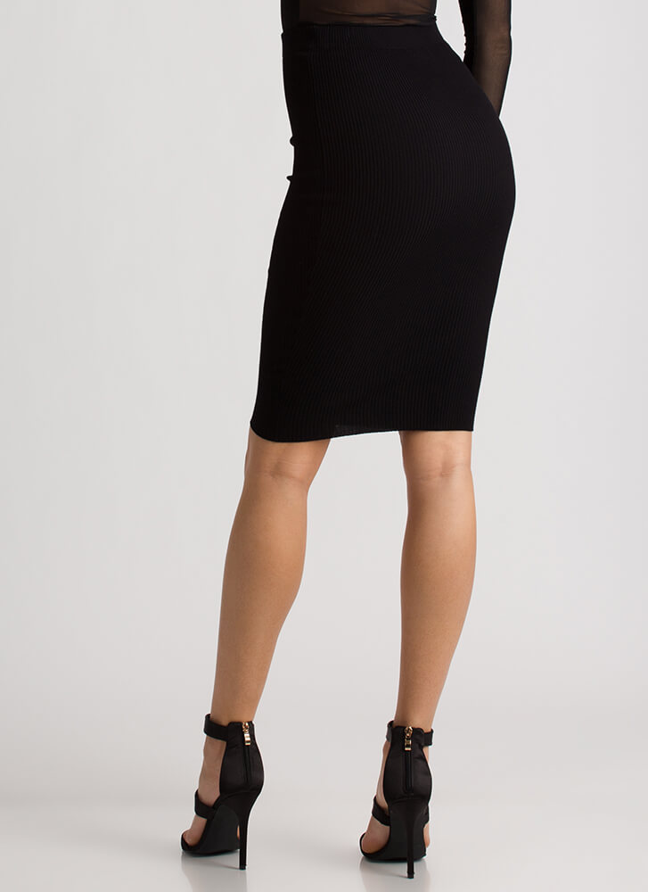 Business Or Pleasure Ribbed Pencil Skirt BLACK