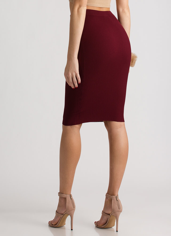 Business Or Pleasure Ribbed Pencil Skirt BURGUNDY