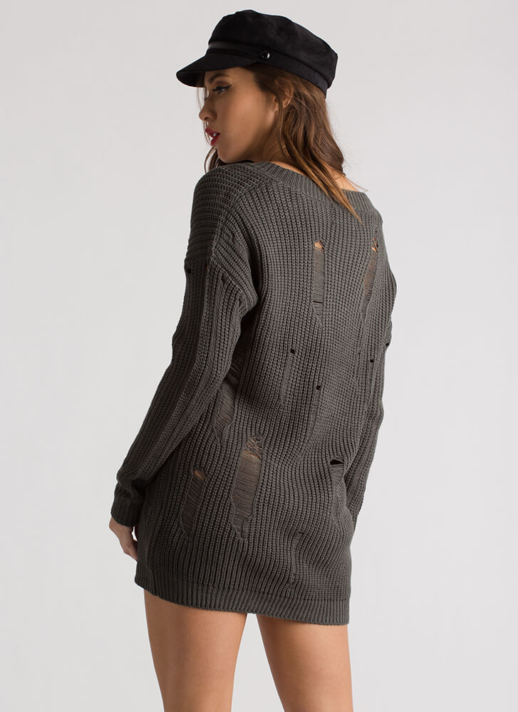 Snag This Distressed V-Neck Sweater FOREST
