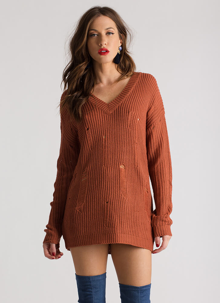 Snag This Distressed V-Neck Sweater RUST