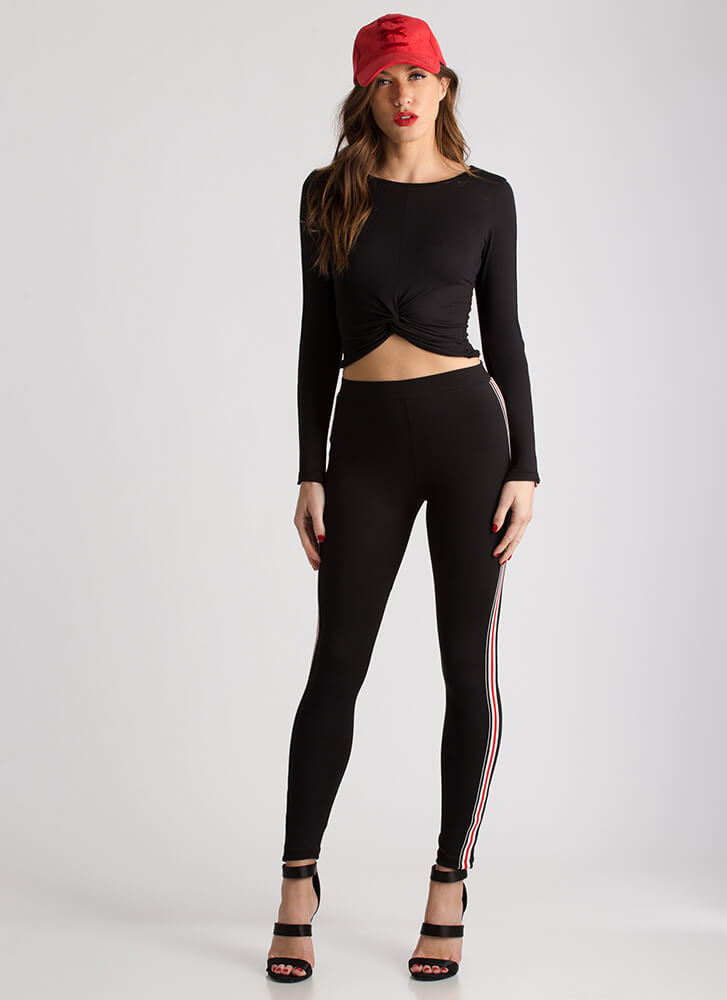 Get Sporty Striped Twisted Crop Top BLACK