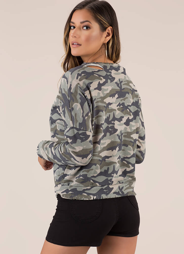 See Me Now Distressed Camo Sweatshirt CAMOUFLAGE