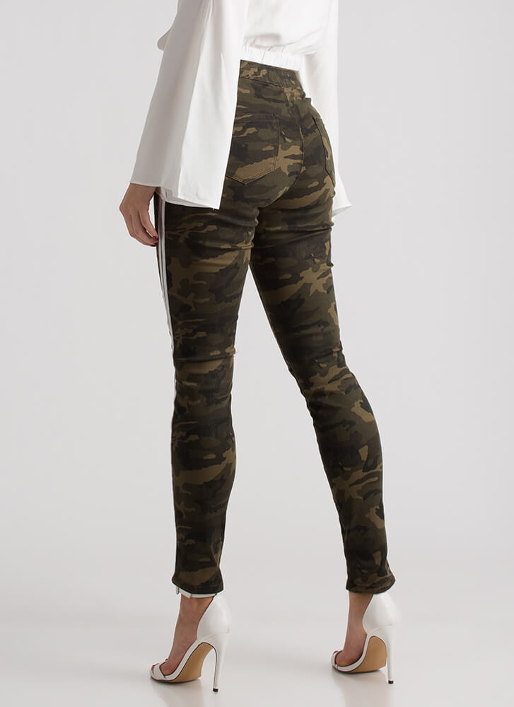 Double The Fun Side-Striped Jeans CAMOWHITE