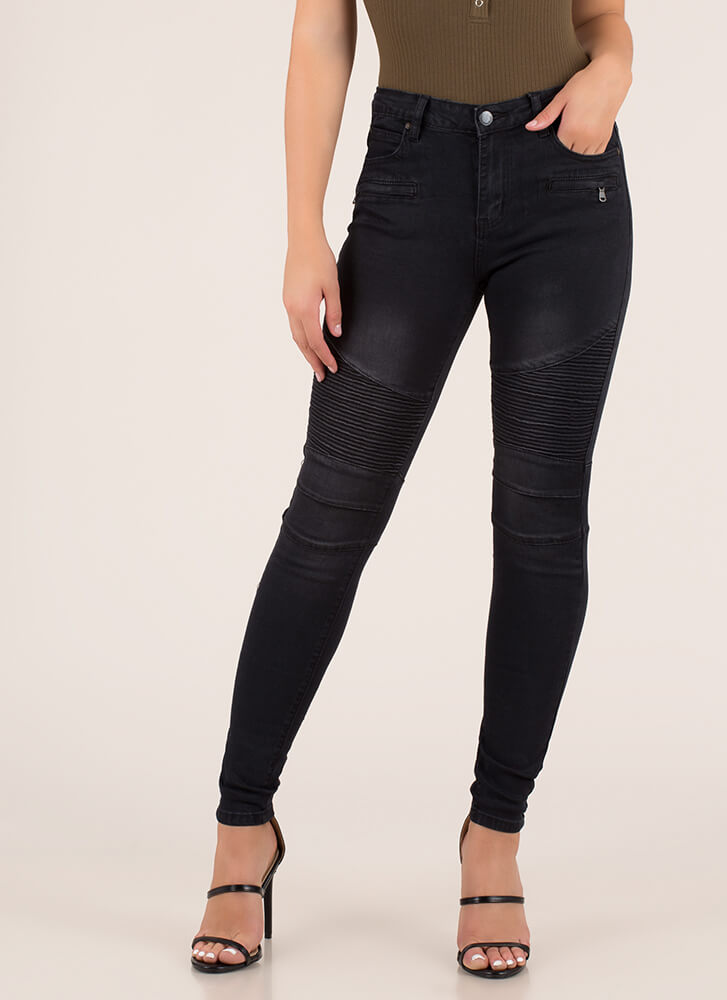 Ride Into The Sunset Moto Skinny Jeans BLACK
