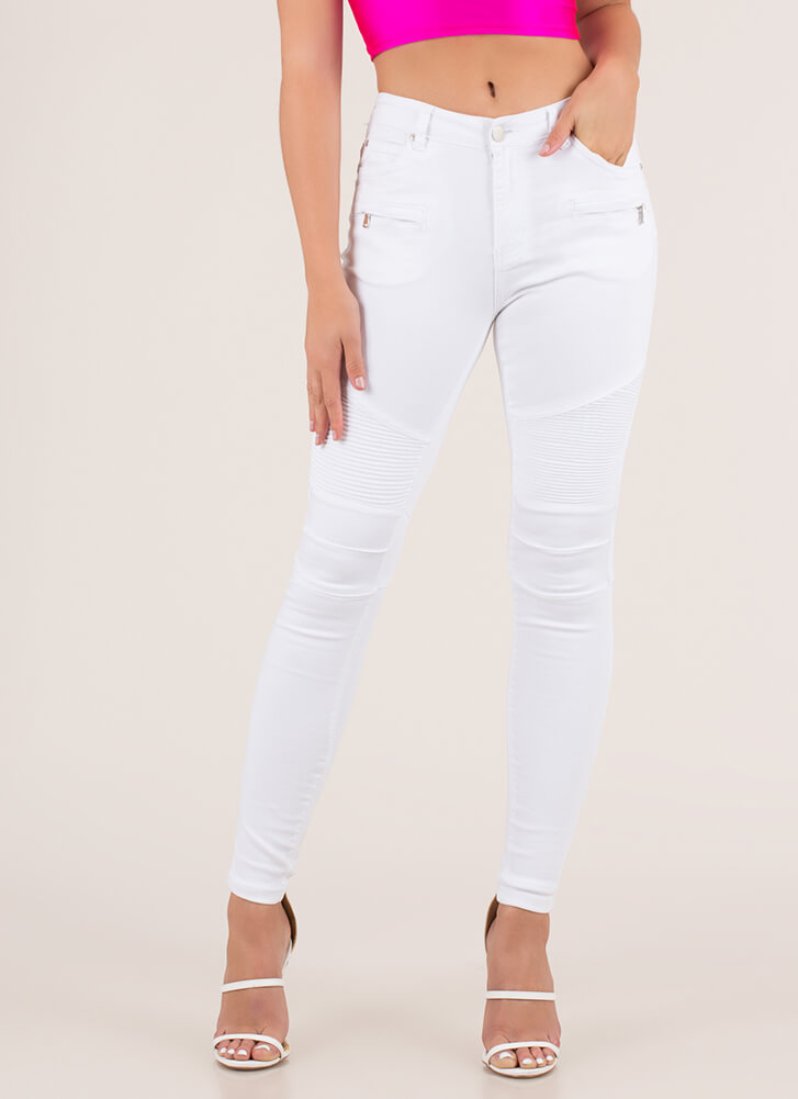 Ride Into The Sunset Moto Skinny Jeans WHITE