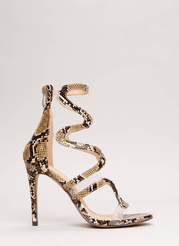 Wave To Me Faux Snake Illusion Heels BROWN