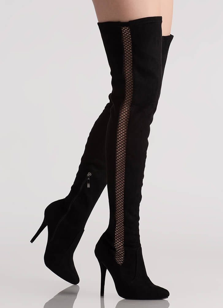 Caught In The Netted Thigh-High Boots BLACK