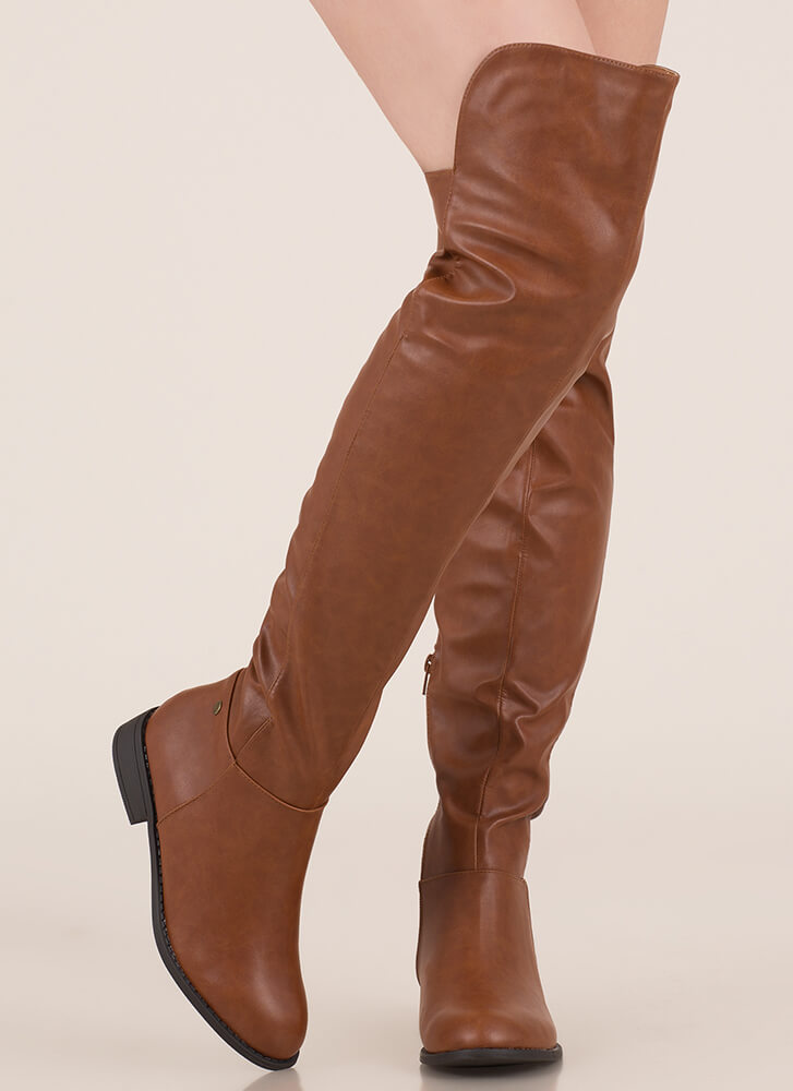 My Highs And Lows Thigh-High Boots COGNAC