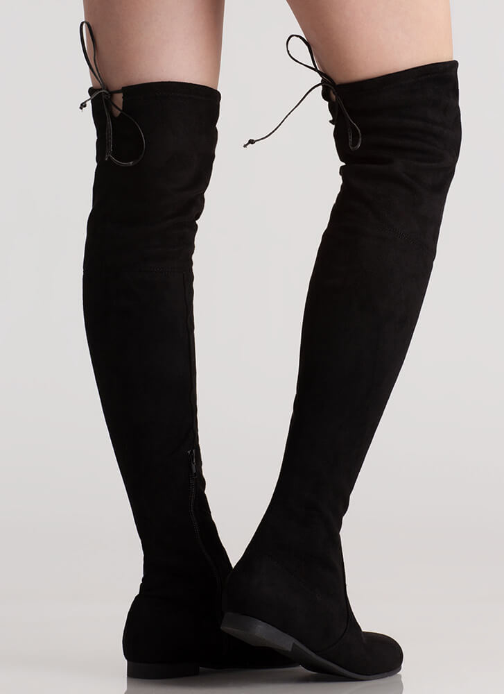 Open Up Drawstring Thigh-High Boots BLACK