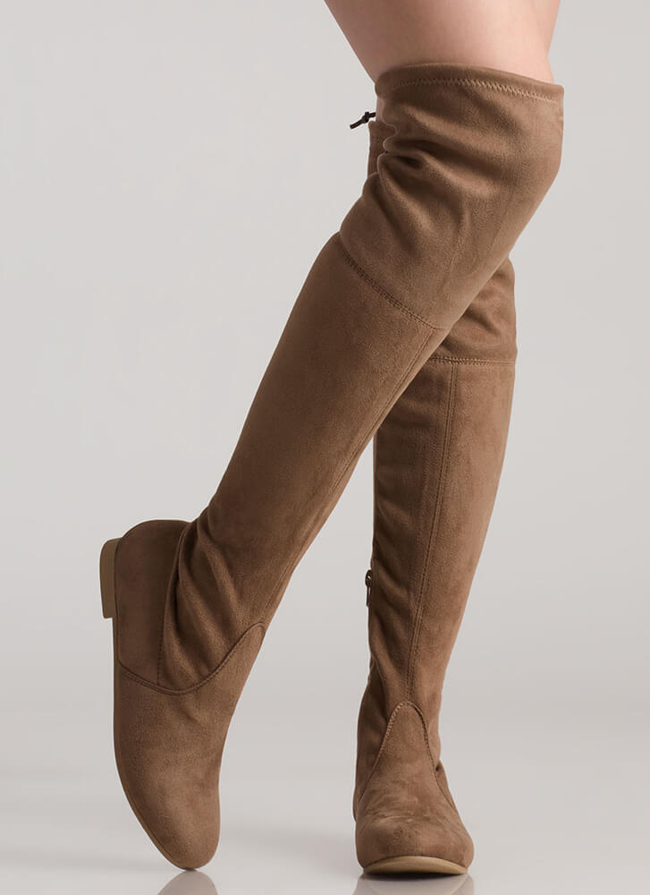 Open Up Drawstring Thigh-High Boots TAUPE