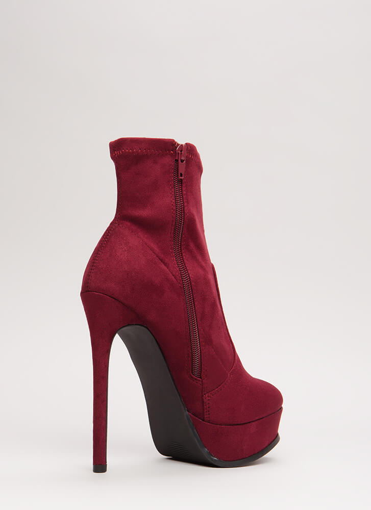 Tall Or Nothing Platform Booties BURGUNDY