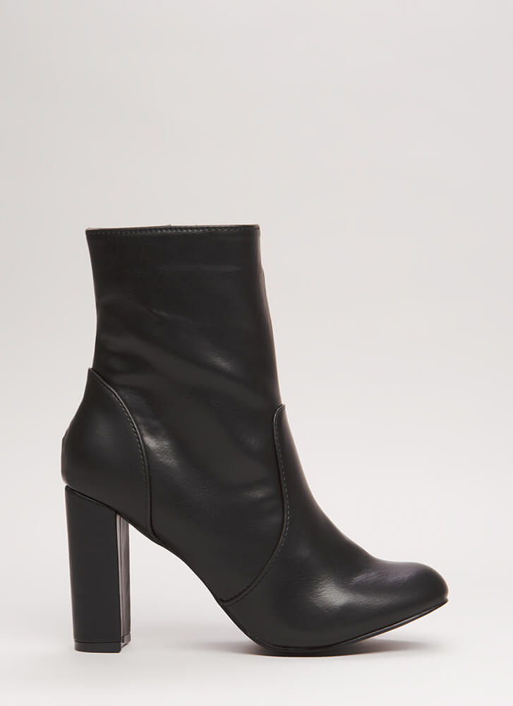 Easy-Peasy Chunky Faux Leather Booties BLACK