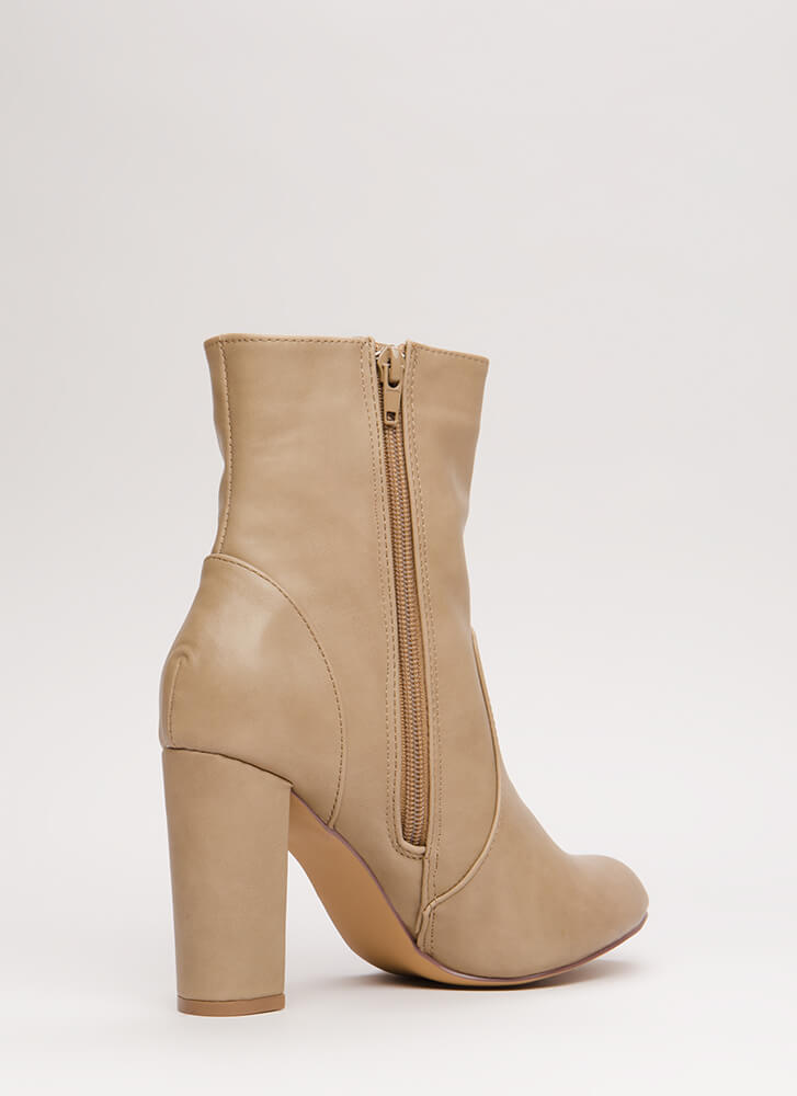 Easy-Peasy Chunky Faux Leather Booties TAUPE