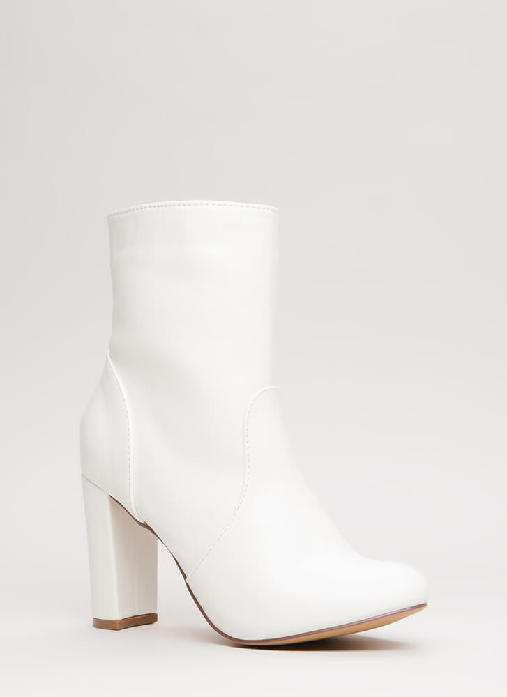 Easy-Peasy Chunky Faux Leather Booties WHITE