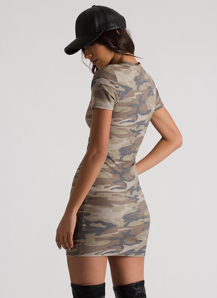 Super Soldier Graphic Camo Print Dress CAMOUFLAGE