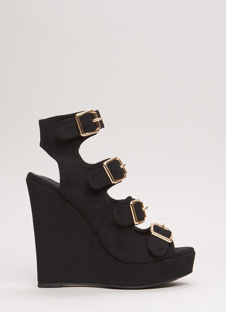 Four The Best Strappy Velvet Wedges BLACK