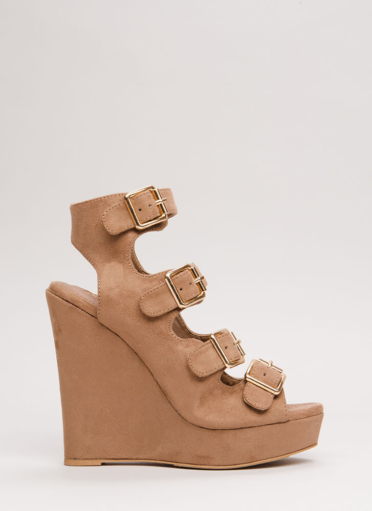 Four The Best Strappy Velvet Wedges TAUPE