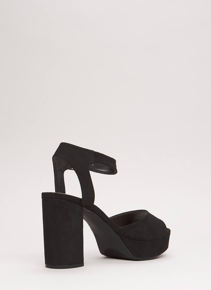 Extra Chunky Faux Suede Platforms BLACK