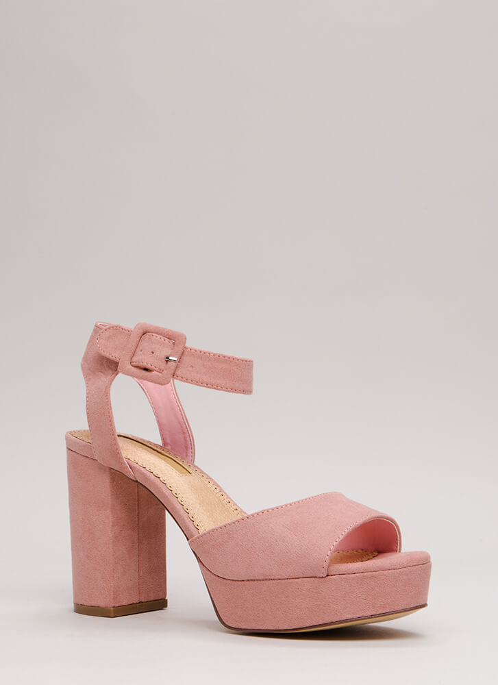 Extra Chunky Faux Suede Platforms DUSTYPINK