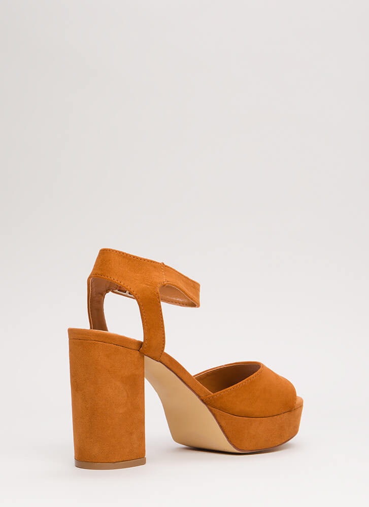 Extra Chunky Faux Suede Platforms TAN