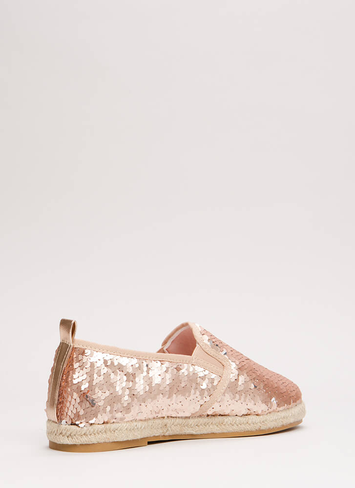 Sneak In Sequins Jute Trim Sneakers ROSEGOLD