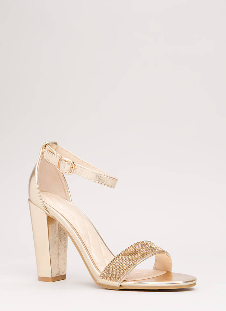 Show Me The Sparkle Chunky Heels GOLD