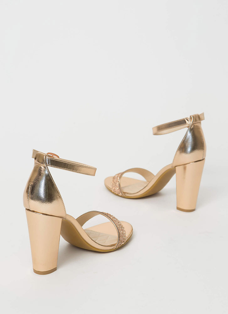 Show Me The Sparkle Chunky Heels ROSEGOLD