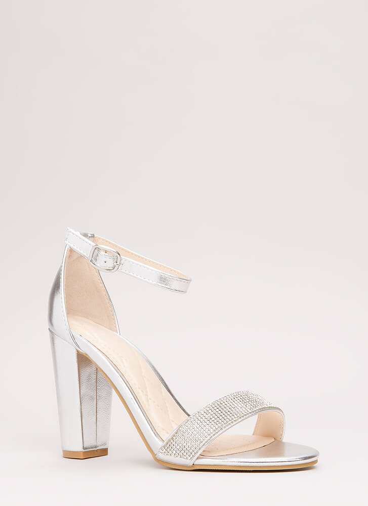 Show Me The Sparkle Chunky Heels SILVER