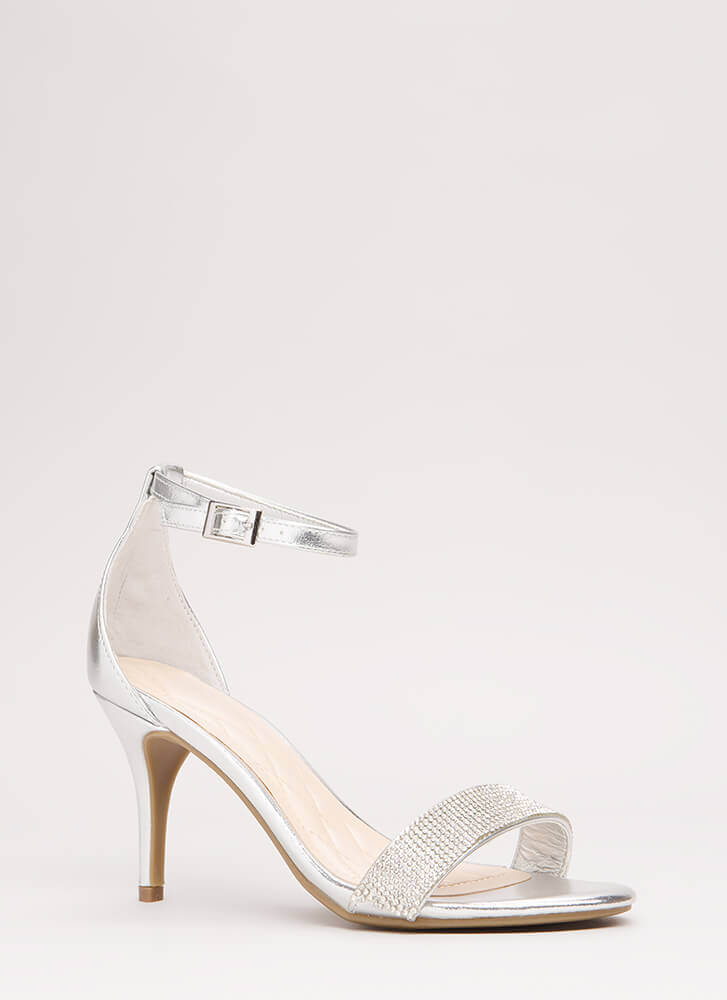 Show Me The Sparkle Metallic Heels SILVER