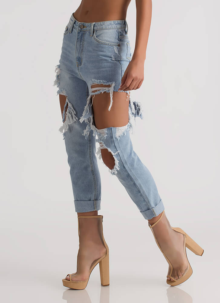 Let It Rip Destroyed Boyfriend Jeans LTBLUE