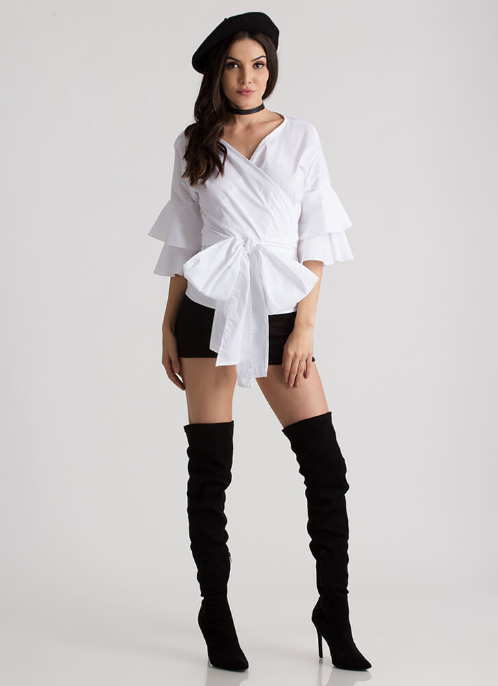 Tie It Again Ruffled Wrapped Blouse WHITE (Final Sale)