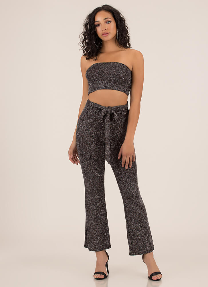 Got Glitter Tied Tube Top And Pant Set BLACKSILVER