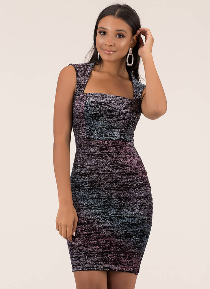 Glitter Galaxy Square Neck Midi Dress BLACKMULTI