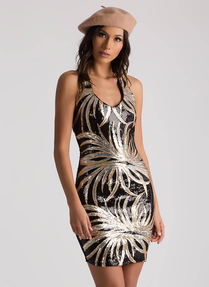 Palm Down Sequined Lace-Back Dress BLACKSILVER (Final Sale)