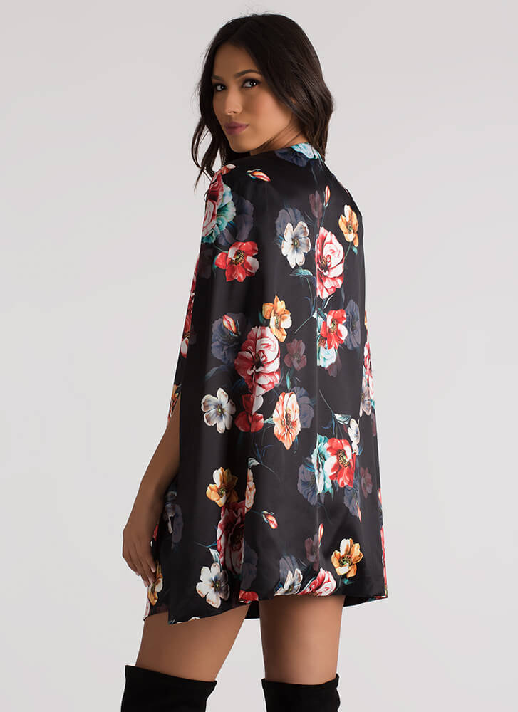 Flower Superpower Floral Cape Jacket BLACK