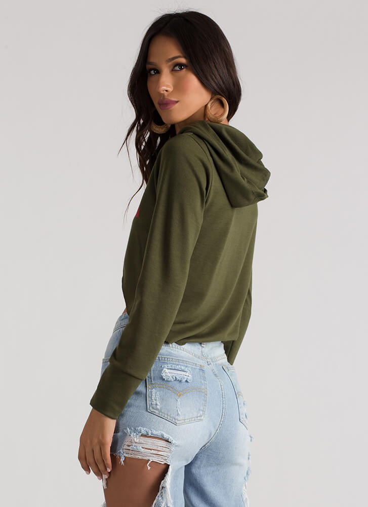 Super Cute Graphic Cropped Hoodie OLIVE